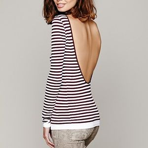 Free People Striped Backless Long Sleeve